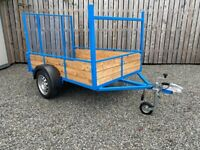 NEWLY BUILT 7 X 4FT 4 CAR TRAILER with Long Tail door ( lawn mower power washer ride on motorbike)