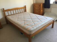 Pine double beds with mattresses- 2 sets