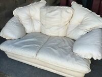 CREAM LEATHER 2 SEATER SOFA,CAN DELIVER