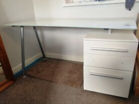 Frosted Glass Office Desk with 3 White Drawers
