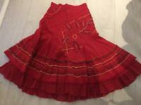Girls M&S red skirt Age 6-7