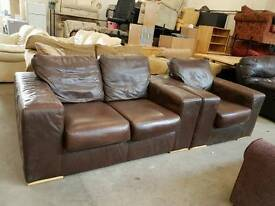 Modern brown leather 2 seater and armchair set