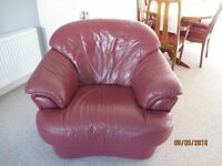 Leather 3 piece suite in Burgundy colour