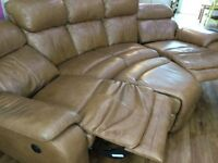 DFS TAN RECLINING LEATHER CORNER SOFA WITH FOOTSTOOL- EXCELLENT CONDITION - CHEAP DELIVERY - £495