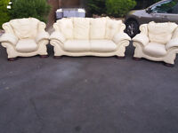 Leather 3 pieces suite, three seater, sofa, couch, settee single seater, chair(free local delivery)