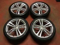 18'' GENUINE AUDI A3 8V S LINE 5 DOUBLE SPOKE ALLOY WHEELS TYRES ALLOYS PASSAT JETTA 5x112