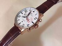 New IWC Schaffhausen Rose gold Automatic Watch, Leather Strap