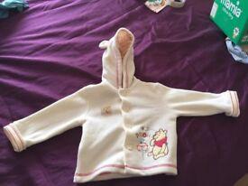 3-6 months rain jacket and Winnie the Pooh fleece jacket - 6-9 months