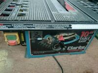 """For sale used Clarke 10"""" table saw"""