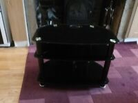 TV Stand black glass with silver highlights