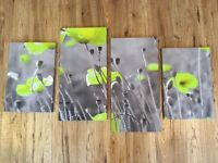 Large Wall Canvas Pictures of Green Poppies in Black & White