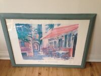 Large Cafe Scene Picture in Duck Egg Blue Green Frame