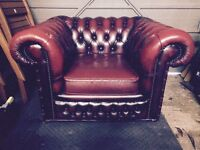 Vintage Red Leather Chesterfield Armchair