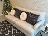 Cream linen large 3 seater sofa, excellent condition