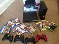 PS3 Slim 160 GB +XBOX 360 Bundle + Games for PS3, XBOX 360, and PS4