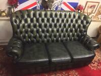Chesterfield 3 Seater Genuine Green Leather Sofa BARGAIN!🔥⏳🔥