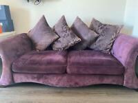 DFS 3/4 seater purple sofa