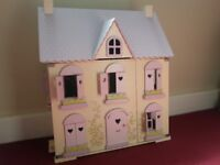 ELC Wooden Dolls house complete with all room furniture and 3 dolls in excellent condition