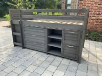 Single Mid sleeper in solid pine with storage