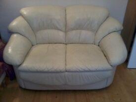 2 seater cream leather sofa