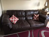 Soft brown leather 3 seater and 2 seater sofas