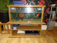 HUGE FISH TANK WITH STAND, DECORATIONS, STONES, FILTER PUMP