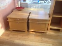 Pair of Next Oslo Beech side table cube with drawers