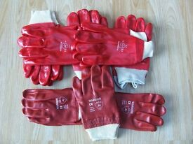 Red pvc gloves knite wrist 8 pairs new
