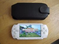 SONY PSP WHITE INCL ONE GAME,ORIGINAL PSP BLACK LEADER CASE,PERFECT WORKING,PERFECT CONDITION,NO CHA