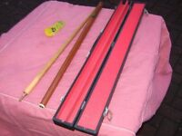 2 piece pool cue and case