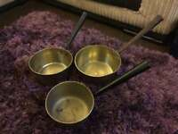 Three vintage brass saucepan possible Victorian