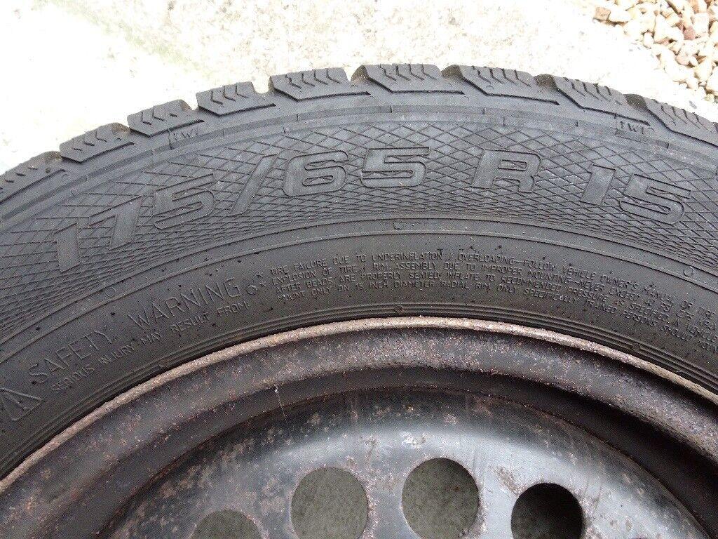 Winter Tyres (4) 15 inch 175/65R15 on Steel Wheels