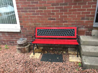 Garden Bench, recently refurbished with new paint and wooden slats. Good reason for sale