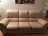 Two Double Recliner Cream Leather 3-Seater Sofas