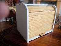 LARGE WOODEN ROLL TOP, TWO TIER BREAD BIN - GREAT CONDITION.!!