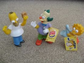 Burger King Simpson Figures Toys, year 2000, Homer, Krusty and Lisa with saxophone