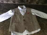 Next 2 piece set shirt and Waistcoat. Blue and Grey age 3-4