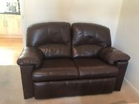 BROWN LEATHER 2 SEATER SOFA'S