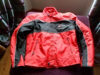 *RIOSSI RED & BLACK TEXTILE ~ MOTORCYCLE JACKET* Size Large