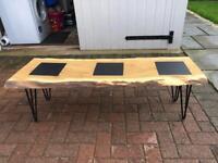 Solid oak waney edge coffee table..