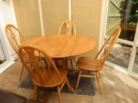 Original Vintage Ercol Table and 4 Chairs