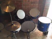 Drum Set - Full Size 5 Piece - Boston - Blue - 2 Cymbals