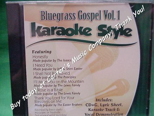 Bluegrass Gospel  Vol. #1  Christian  Daywind  Karaoke Style  CD+G  Karaoke  NEW