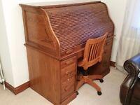 Roll-top desk & chair