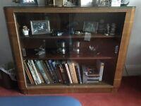 glass cabinet 2 shelves doors mahogany books ornaments walnut vintage vgc