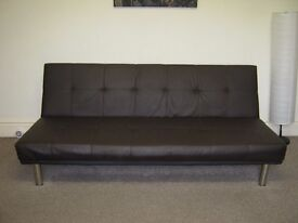 BROWN FAUX LEATHER SOFA BED, CLICK-CLICK STYLE