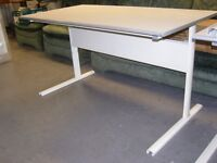White Metal Framed Home or Office Desk Table. Good Condition