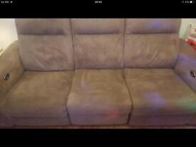 Electric 3 seater suede dark cream / beige sofa