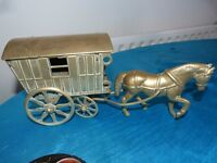 Vintage Brass horse and carriage, 2 pieces. the carriage lifts open into a container.