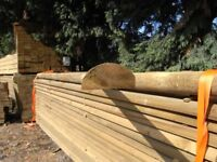 Timber half round rail 100mmx3.6m
